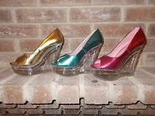 Womens Metallic open toe Faux Leather Clear Plastic Platfrom Wedges pumps