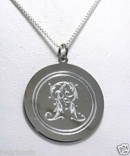 """1"""" Wide Floral Style Font Oval Monogram Initial Pendant w/Chain 18"""", Silver, NEW"""