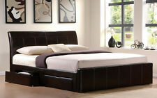 4FT 4FT6  5FT 6FT BLACK BROWN WHITE FAUX LEATHER 4 DRAWER STORAGE BED MATTRESS.