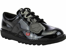 Kickers Kick Lo N  Black Leather Patent Kids Juniors Girls Back To School Shoes