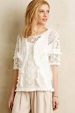 NEW Anthropologie Cotton Fringed Lace Top by Yoana Baraschi, White, Sz XS-S-M-L
