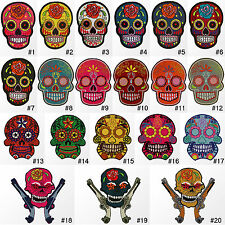 #3500R Mexican Flower Sugar Skull Biker Goth Embroidered Sew Iron on Patch Badge