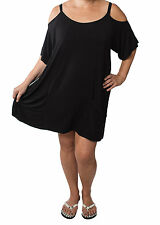 Women's Plus Size Sexy Solid Black Cover Up Open Shoulder Tunic Dress 1x 2x 3x