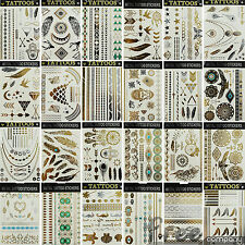 Metallic Flash Temporary Tattoo Gold Silver Inspired Body Art Make-up Stickers