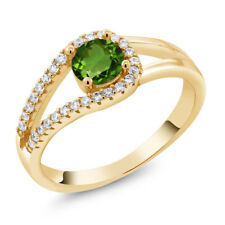 0.85 Ct Round Green Chrome Diopside 18K Yellow Gold Plated Silver Ring