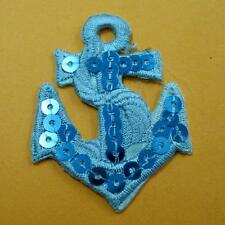 Anchor Sea Sequins Retro Ship Iron on Sew Patch Applique Badge Embroidered Navy