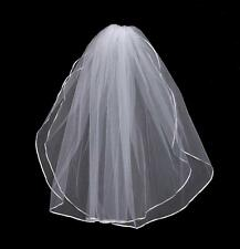 White 2 Layer Short Veil satin Edge wedding veil bride bridesmaid veil with comb