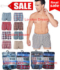 Mens Woven Check Boxer Shorts Loose Fit  Poly Cotton Blend Underwear ALL SIZES