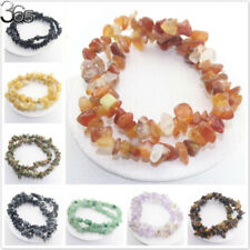 "5-8mm Natural Chips Gemstone Beads Jewelry Stretchy Bracelet 15"" Fashion Vintage"