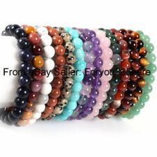 "8.5"" Mixed Natural Gemstone 12mm Round 18 Pcs Beads Stretchy Jewelry Bracelet"