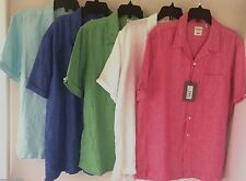 Murano 100% Linen Slim Fit Mens Shirts Button Front Short Sleeve Sz M  L XL NWT