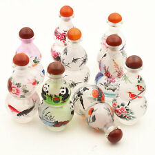 Chinese Handmade Synthetic Crystal Interior Painting Gourd Shape Snuff Bottle