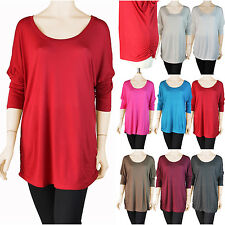 Womens Plus Dolman Tunic Top Scoop Neck Piko Style 3/4 Sleeve Side Shirring