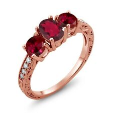 2.12 Ct Oval Red Mystic Topaz Red Created Ruby 18K Rose Gold Ring