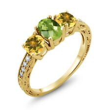 1.87 Ct Oval Checkerboard Green Peridot Yellow Citrine 18K Yellow Gold Ring