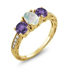 1.65 Ct Oval Cabochon White Opal Purple Amethyst 18K Yellow Gold Ring