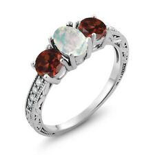 1.85 Ct Oval Cabochon White Simulated Opal Red Garnet 925 Sterling Silver Ring