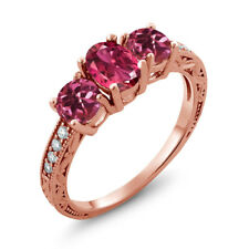1.97 Ct Oval Pink Tourmaline 18K Rose Gold Plated Silver Ring