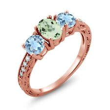 1.67 Ct Oval Green Amethyst Sky Blue Aquamarine 18K Rose Gold Plated Silver Ring