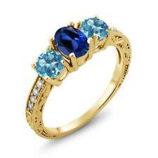 2.02 Ct Oval Blue Simulated Sapphire Swiss Blue Topaz 18K Yellow Gold Ring