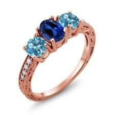 2.02 Ct Simulated Sapphire Swiss Blue Topaz 18K Rose Gold Plated Silver Ring