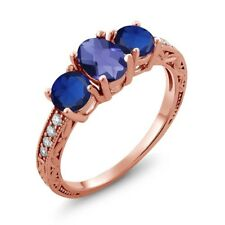 1.97 Ct Oval Checkerboard Blue Iolite Blue Simulated Sapphire 18K Rose Gold Ring