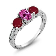 2.12 Ct Oval Pink Created Sapphire Red Ruby 14K White Gold Ring