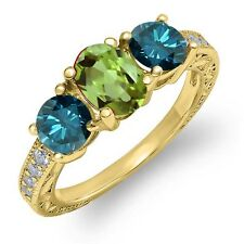 2.02 Ct Oval Green Peridot Blue Diamond 18K Yellow Gold Plated Silver Ring