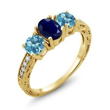 2.14 Ct Oval Blue Sapphire Swiss Blue Topaz 18K Yellow Gold Plated Silver Ring