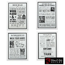 Glass Fronted Frame Plaque Rules - Household /Kitchen / Bathroom / Toilet Rules