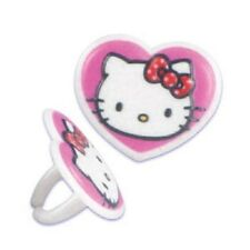 CAKE GIRLS HEART FAVORS BIRTHDAY PARTY CUPCAKE RINGS HELLO KITTY 6 12 24 CHOICE