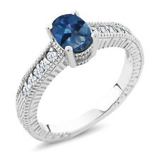 1.35 Ct Royal Blue Mystic Topaz White Created Sapphire 925 Silver Ring
