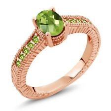 1.50 Ct Oval Checkerboard Green VS Peridot 18K Rose Gold Plated Silver Ring