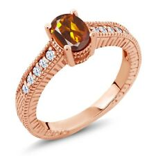 1.10 Ct Orange Red Madeira Citrine White Topaz 18K Rose Gold Plated Silver Ring
