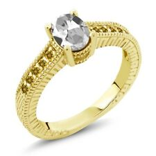 1.30 Ct Oval White Topaz Simulated Citrine 18K Yellow Gold Plated Silver Ring