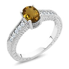 1.10 Ct Oval Whiskey Quartz White Topaz 925 Sterling Silver Engagement Ring