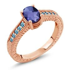 1.15 Ct Checkerboard Blue Iolite Swiss Blue Simulated Topaz 18K Rose Gold Ring