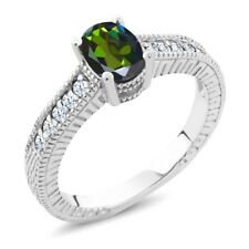1.35 Ct Forest Green Mystic Topaz White Created Sapphire 925 Silver Ring