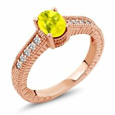 1.17 Ct Oval Canary Mystic Topaz White Sapphire 18K Rose Gold Plated Silver Ring
