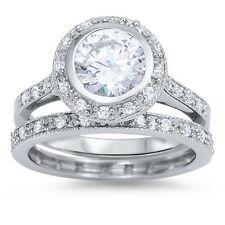 Sterling Silver 925 BRIDAL WEDDING SET ROUND DESIGN CLEAR CZ RING 12MM SIZE 5-10