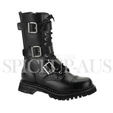 Demonia Shoes RIOT-12 Boots Black Leather Gothic Punk Strap Buckles Calf Sexy