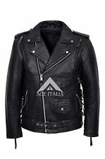 Men's LIVE TO RIDE EAGLE Black Casual Real Hide Biker Motorcycle Leather Jacket