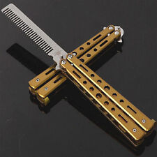 Red Yellow Practice Training Stainless Steel Butterfly Dull Knife Comb Tool New