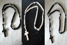 Wooden rosary necklace wood beads knotted