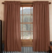 Patriotic Patch Rustic Country Red Plaid Curtains 2 Lined Panels w/ Tie Backs