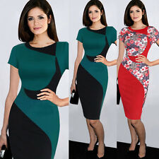 Elegant Women OL Colorblock Business Office Work Party Tunic Pencil Wiggle Dress