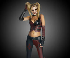 Harley Quinn Costume Halloween Adult Batman Arkham City Cosplay Sexy Fancy Dress