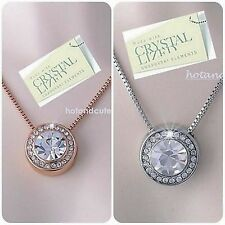 Genuine Swarovski Crystals White Rose Gold Plated Pendant Necklace Mum Wife Gift