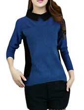 Lady Point Collar Long Sleeve Color Block Casual Knit Shirt
