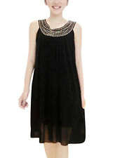 Lady Round Neck Pleated Detail Front Beads Decor Dress
